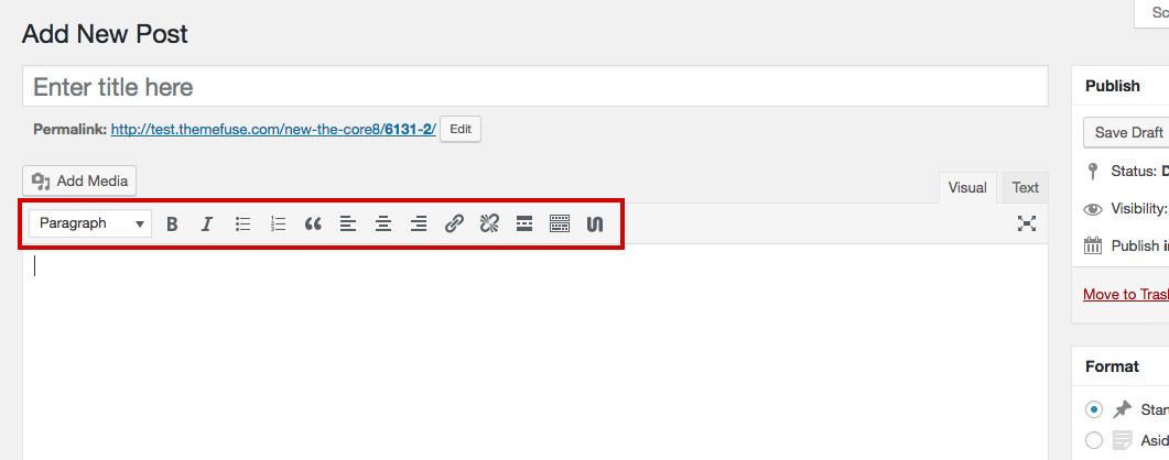 how to write post on wordpress html visual