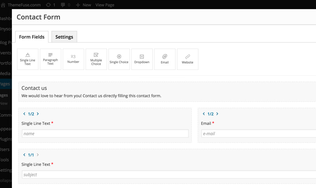 Add A New Contact Form To A Page  Themefuse